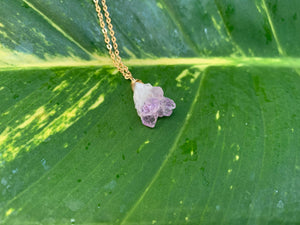 Raw Amethyst Gemstone Healing Crystal Gold Filled Pendant Necklace 0.3