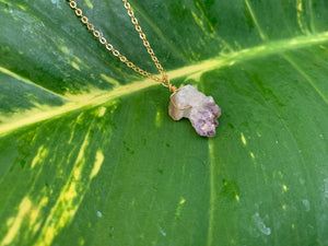 Raw Amethyst Gemstone Healing Crystal Gold Filled Pendant Necklace 0.6