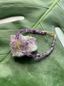 Amethyst Healing Crystal Gemstone Gold Cross Charm Bracelet