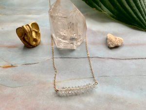 Clear Quartz Healing Crystal Gemstone Rondelle Gold Filled Necklace