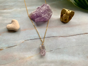 Raw Amethyst Gemstone Healing Crystal Gold Filled Pendant Necklace 0.4