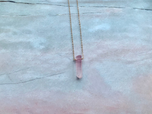 Raw Pink Tourmaline Gemstone Healing Crystal Gold Filled Necklace