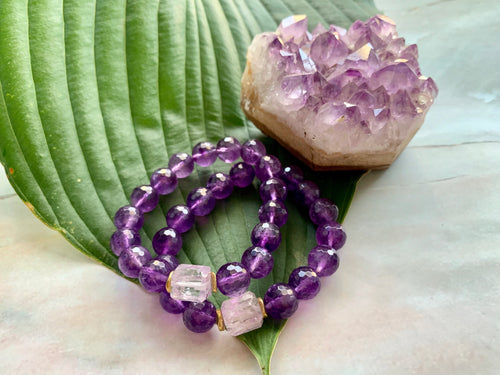 10mm Faceted Amethyst and Raw Lavender Kunzite Healing Crystal Bracelet