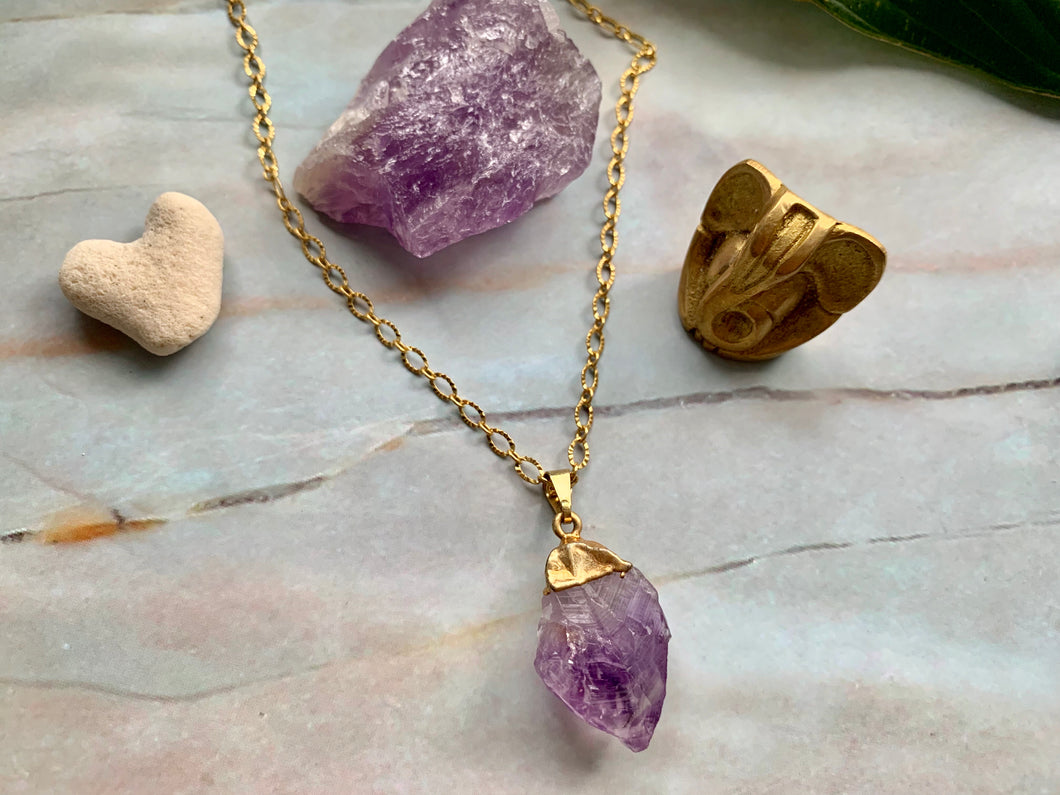 Raw Amethyst Healing Crystal Gemstone Gold Plated Pendant Necklace