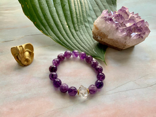 Amethyst and Herkimer Diamond Healing Crystal Bracelet