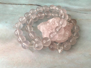 Clear Rose Quartz & Herkimer Diamond Healing Crystals Bracelet