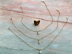 Moonstone Healing Crystal Gold Filled Heart Choker Necklace