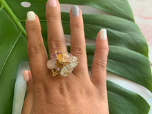 Load image into Gallery viewer, Multi-Gem: Citrine, Purple Amethyst, Quartz, Rose Quartz, Herkimer Diamond Statement 7.5 Ring