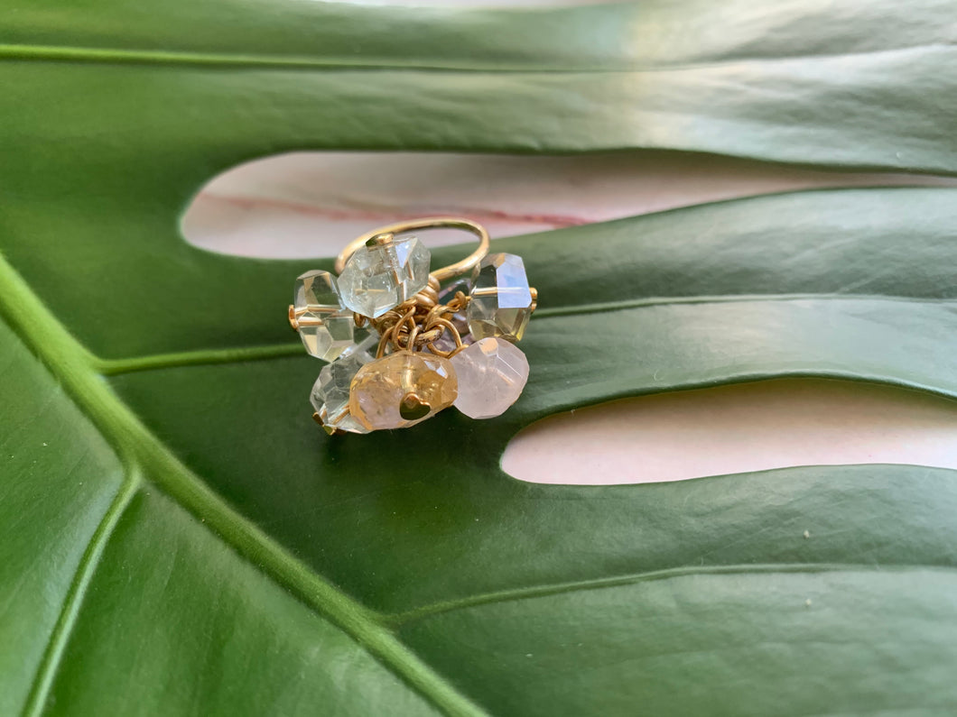 Multi-Gem: Citrine, Purple Amethyst, Quartz, Rose Quartz, Herkimer Diamond Statement 7.5 Ring