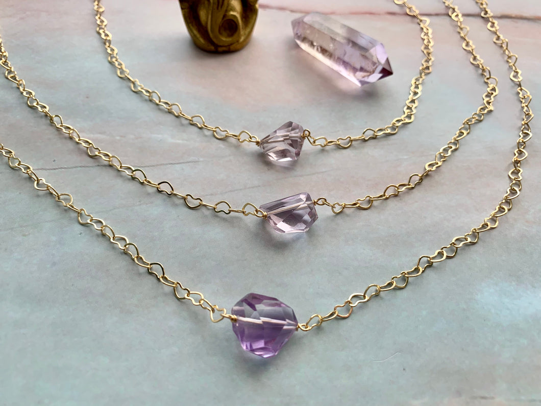 Amethyst Gemstone Healing Crystal Gold Filled Heart Choker Necklace