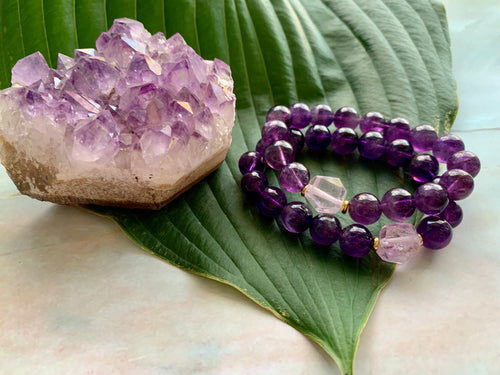 10mm Amethyst and Raw Lavender Kunzite Healing Crystal Bracelet