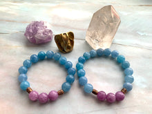 Load image into Gallery viewer, Aquamarine & Lepidolite Healing Crystal Beads Bracelet
