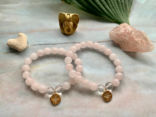Rose Quartz & Clear Quartz Healing Crystals Pick Your Charm Bracelets