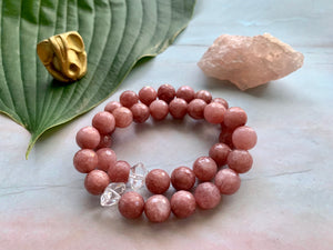 Pink Quartz and Herkimer Diamond Healing Crystal Bracelet