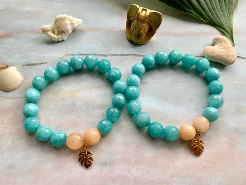 Faceted Blue Dyed Jade Gemstone Monstera Leaf Charm Bracelet
