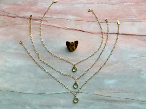 Green Amethyst Healing Crystal Gold Filled Heart Choker Necklace