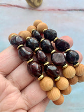 Load image into Gallery viewer, Garnet Healing Crystal Gemstone Nuggets & Sandalwood Beads Bracelet