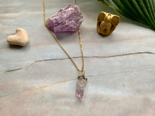 Load image into Gallery viewer, Raw Amethyst Gemstone Healing Crystal Gold Filled Pendant Necklace 0.2