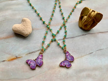 Load image into Gallery viewer, Green Chalcedony & Purple Gold Butterfly Charm Necklace