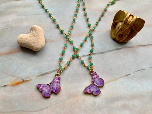 Green Chalcedony & Purple Gold Butterfly Charm Necklace