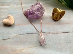 Raw Geode Amethyst Gemstone Healing Crystal Rose Gold Plated Pendant Necklace 0.7