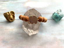 Load image into Gallery viewer, Prehnite Sandalwood & Elephant Charm Healing Crystal Beads Bracelet
