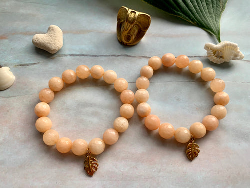 Faceted Sherbert Orange Dyed Jade Gemstone Monstera Leaf Charm Bracelet