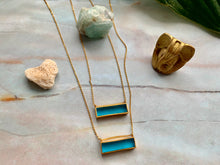 Load image into Gallery viewer, Gold Blue Topaz Bar Dainty Pendant Necklace