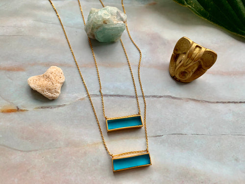 Gold Blue Topaz Bar Dainty Pendant Necklace