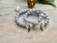 Load image into Gallery viewer, Blue Lace Agate & Clear Quartz Healing Crystals Wing Charm Bracelet