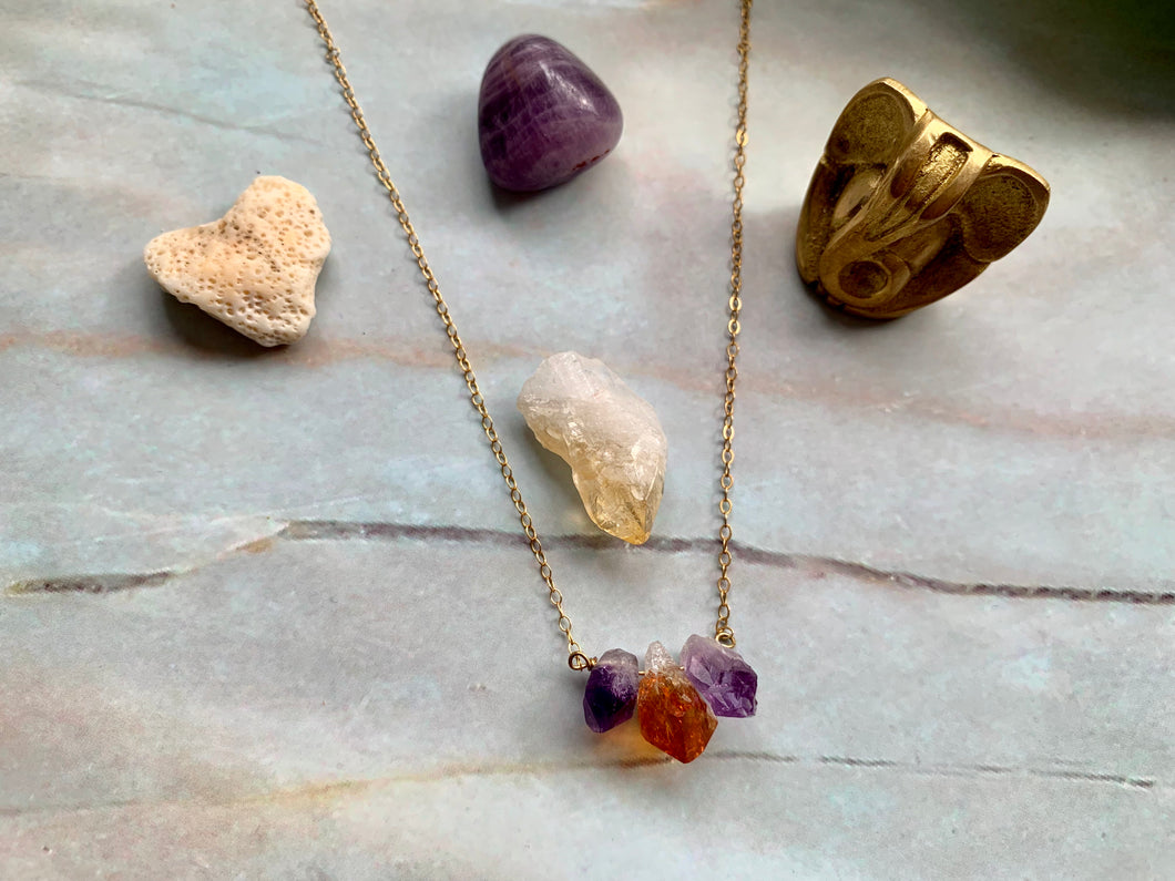 Raw Amethyst-Citrine-Amethyst Crystal Gemstone Gold Filled Necklace