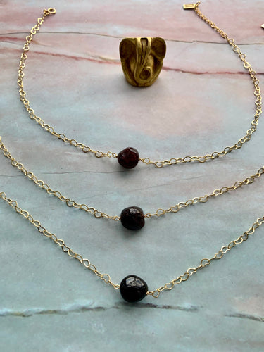 Garnet Gemstone Healing Crystal Gold Filled Heart Choker Necklace