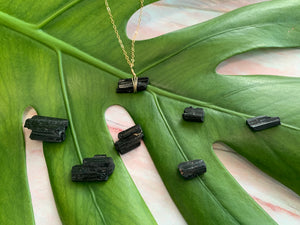 Raw Black Tourmaline Gemstone Healing Crystal Gold Filled Necklace