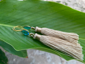 Light Brown Tassel Blue Topaz Statement Dangle Earrings