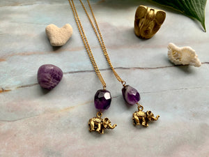 Amethyst Crystal Gemstone & Antique Gold Elephant Good Luck Charm Necklace