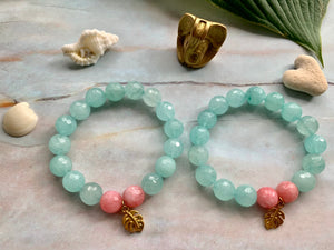 Faceted Light Blue Dyed Quartz Gemstone Monstera Leaf Charm Bracelet