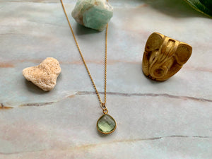 Dainty Green Amethyst Healing Crystal Gemstone Gold Filled Necklace