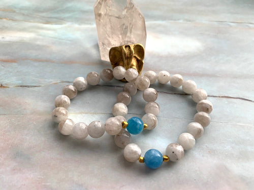 Moonstone and Aquamarine Healing Crystal Bracelet