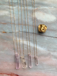 Raw Lavender Kunzite Gemstone Healing Crystal Gold Filled Pendant Necklace