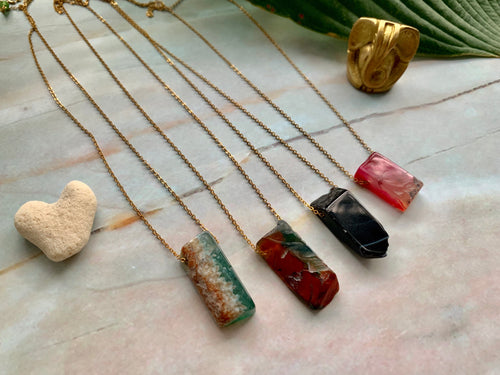 Pick Your Color Natural Shape Agate Gold Plated Pendant Necklace