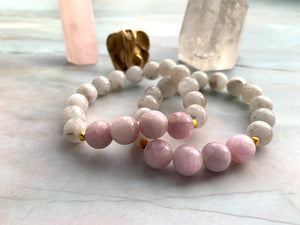 Moonstone and Kunzite Healing Crystal Bracelet