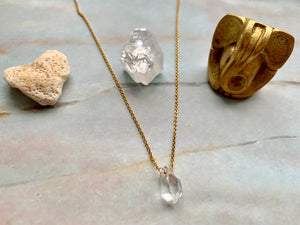 Double Terminated Herkimer Diamond Healing Crystal Gold Necklace 0.1