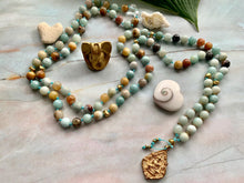 Load image into Gallery viewer, Courage & Truth Amazonite Gold Findings & Buddha Mala 108 Gemstone Beads Necklace
