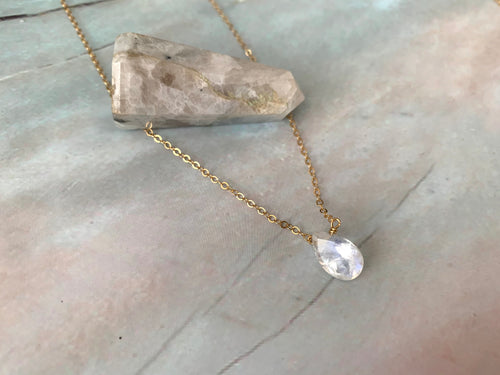 Grade AA Pear Shape Moonstone Healing Crystal Necklace