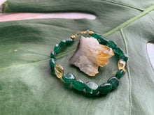 Load image into Gallery viewer, Green Strawberry Quartz Healing Crystal Gemstone Beads Gold Bracelet