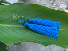 Load image into Gallery viewer, Royal Blue Tassel Blue Topaz Statement Dangle Earrings