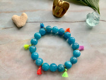 Load image into Gallery viewer, Aquamarine Healing Crystal Gemstone & Super Tiny Tassels Bracelet