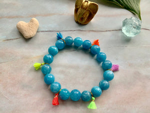 Aquamarine Healing Crystal Gemstone & Super Tiny Tassels Bracelet