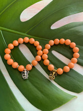 Load image into Gallery viewer, Ganesh Remover of Obstacles Orange Jade Gemstone Bracelet