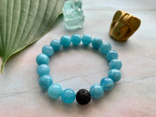 Load image into Gallery viewer, Aquamarine Healing Crystal Gemstone & Lava Bead Bracelet
